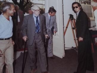 1982 H.Moore. appena giunto da Londra, inaugura l'Antologica che al Forte ho appena finito di istallare.
