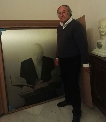 Antonino Bove nello Studio con 'Acronos che legge'.2017.