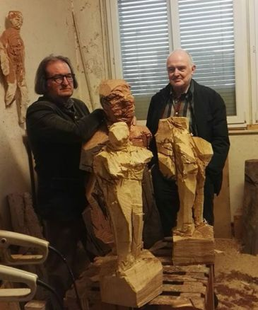 Klaus Prior confronto tra scultura e pittura Lugano 2017.