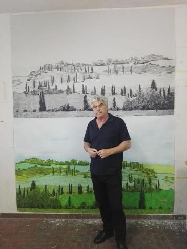 Lello Lopez in studio a Napoli.