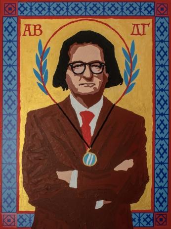 Di Alfredo Romio - Icona di Andrea B. Del Guercio, 2019, acrilico su stampa banner, 30x40